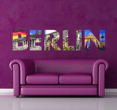 "A Berlin wall sticker design from Tenstickers, the letters of ""Berlin"" filled with photographs taken around the German capital."