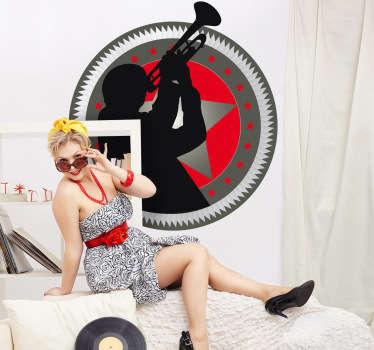 Stickers mural de forme arrondie à fond rouge et gris avec un homme jouant de la trompette.Idée déco originale pour votre chambre. Utilisez ce stickers pour customiser aussi bien les murs ou mobilier de votre intérieur.