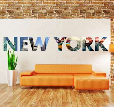 Exclusive New York wall sticker with a collage of pictures cut into letters that form the name of the US city. This colourful but clear design shows monuments such as the Statue of Liberty, the Empire State Building and the American Flag.