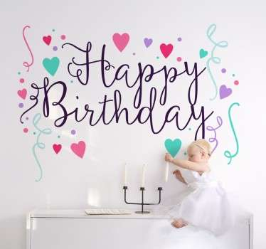 A decorative sticker that is sure to brighten up any birthday party. Beautiful cursive writing, surrounded by pastel coloured hearts.