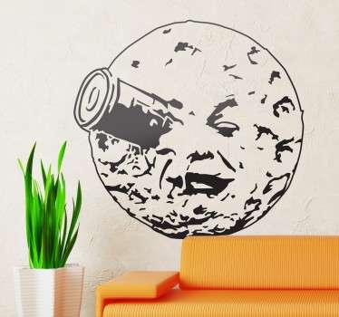 Decorative drawing wall decal of Trip to the moon Hollywood movie theme. It is available in any required size and it is easy to apply.