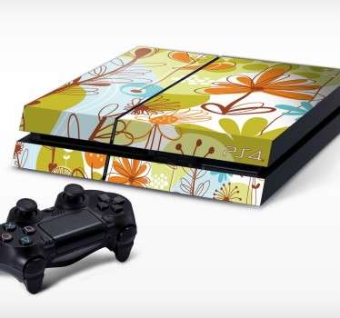 Sticker Playstation 4 bloemen natuur