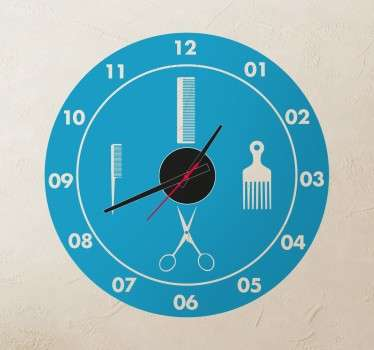 Sticker horloge coiffeur