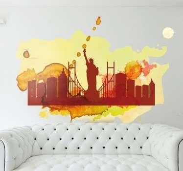 Muursticker silhouet aquarel skyline New York