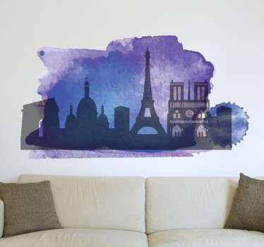 Vinilo decorativo silueta París acuarela