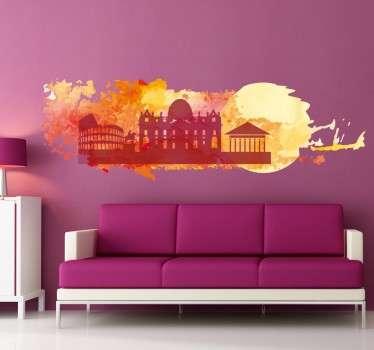 Gestalten Sie Ihr Zuhause mit dieser schönen Skyline von Rom als Wandtattoo, auf der Sie die wichtigsten Gebäude als Silhoulette sehen.
