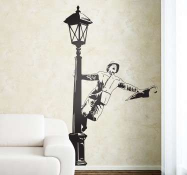 Classic monochrome wall sticker showing the iconic scene from the musical Singin' in the Rain, from our collection of TV and film wall stickers. This movie wall decal shows a man dancing on a lamppost and singing while holding an umbrella in the rain.