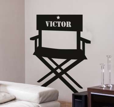 A personalised name sticker from our collection of movie stickers. The director´s chair decal is a must for all of our movie lovers!