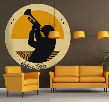 Decorative musical sticker of a trumpeter. A perfect wall decal to decorate your walls especially for those that love the trumpet!