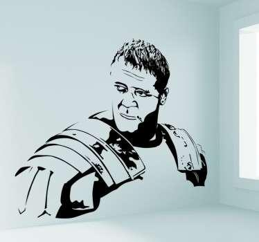 Si eres cinéfilo, entusiasta del cine y los gladiadores seguro que recuerdas esta gran película. Vinilo retrato de Maximus protagonizado por Russell Crowe en la película El Gladiador. Vinilos pared ideales para decorar tu hogar y dotarlo de carisma.