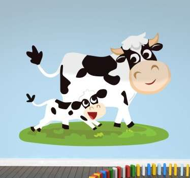 Kids Wall Stickers - Illustration of a couple of happy cows from our collection of farm themed wall stickers. Fun, colourful and playful feature for decorating a child's room. This cartoon cow wall decal is just what you need to fill the empty space at home and bring some colour to the walls!