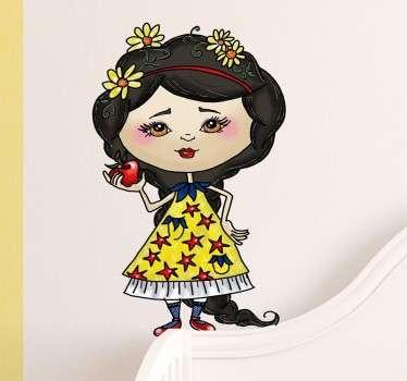 Vinilo ilustración Blancanieves manzana