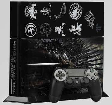 Vinilos para PS4. Pegatina para decorar y personalizar tu consola si eres un Gamer y a la vez te encanta la serie de Juego de Tronos. Stickers con las casa de la serie y el mítico trono.