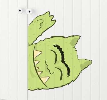 绿色怪物孩子贴纸