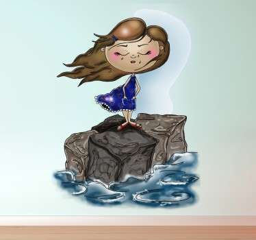 Girl at Sea Wall Sticker