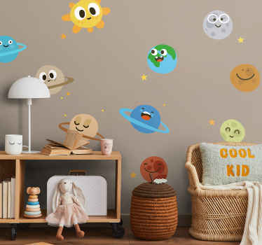 Kids Wall Stickers - Collection of playful cartoon wall stickers of the sun and 9 planets among the stars, from our space wall stickers range. Great feature in any kids room, nursery or classroom to make sure learning is fun.