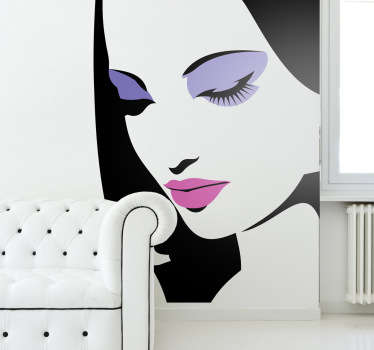 Decorative stencil sticker of a girl with make up on. Brilliant decal to decorate your walls.