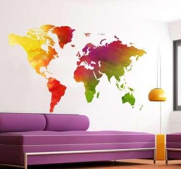 Wallstickers Verdenskort med farver