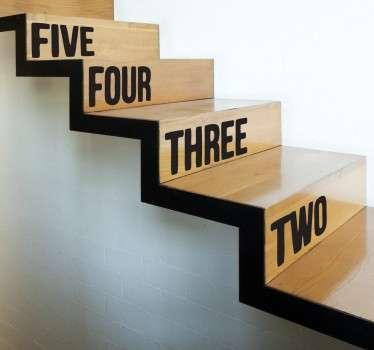 Aufkleber für die Treppe Englische Zahlen