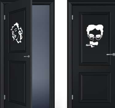 Pair of monochrome door stickers showing the faces of Marilyn Monroe and Groucho Marx available in a wide range of sizes and colours, perfect for showing your guests or customers which bathroom is which in a fun and unique way.
