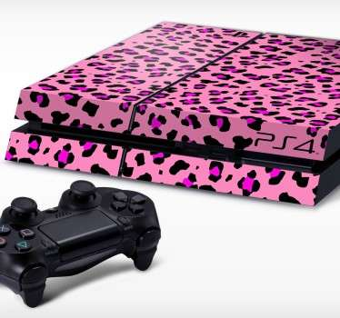 粉红色的动物打印playstation 4皮肤
