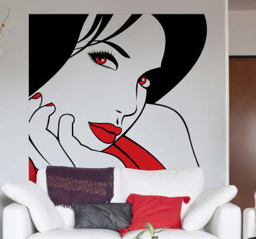 Decorative stencil sticker of a girl with beautiful bright red eyes. Brilliant decal to decorate those empty walls at home.