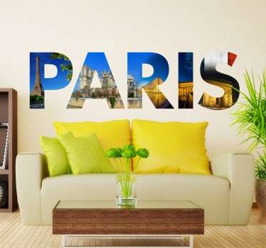 Are you a lover of France and its capital city? Decorate the walls of your home with one of our original Paris wall stickers. Artistic vinyl with photos of the most characteristic Parisian monuments, silhouetted by letters that make up the name of this European city.