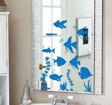 Sticker miroir aquarium et poissons