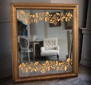 зеркальный цветочный деколь