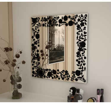 Mirror Floral Square Decal