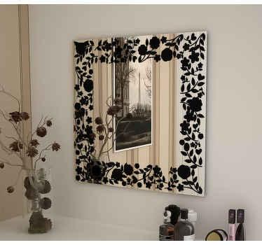 Vinilo floral para espejos cuadrados