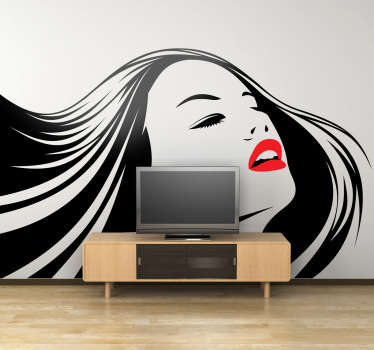 Decorative stencil sticker of a beautiful woman with bright red lips. Brilliant wall decal to decorate your home.
