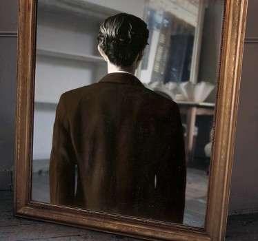 Magritte Mirror Reflection Sticker