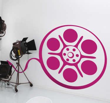 Vinilo decorativo de la silueta de una cinta película cine. Esta pegatina decorativa es ideal para habitaciones con home cinema.