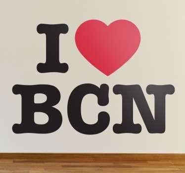 """Vinil decorativo """"I Love BCN"""" (Eu amo Barcelona), é um vinil de texto para todos os apaixonados por esta cidade vibrante, apixonante e energética!"""
