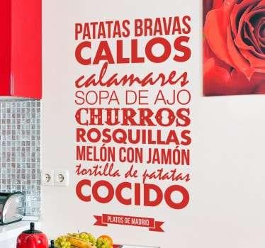 Vinilos Madrid platos típicos