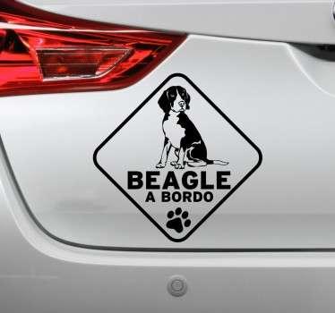Vinilo decorativo Beagle a bordo línea