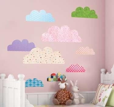 Various Cloud Textures Kids Stickers