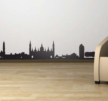 Silhouette city skyline wall sticker of Zaragoza  to decorate your space with glam. It is available in different colours and size options.