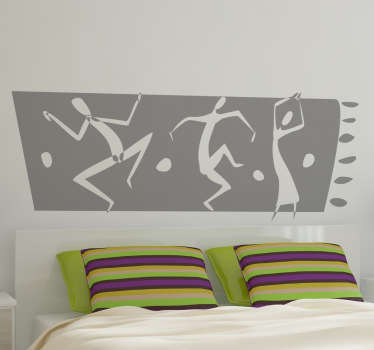 Wall Stickers - Original african themed design of tribal men and a woman dancing. Available in 50 colours.