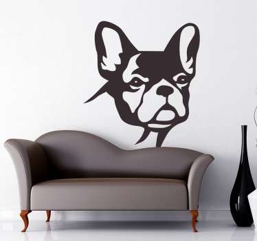 Wall Stickers - Silhouette illustration of a cute British Bulldog. Original wall decal feature for your home or business.