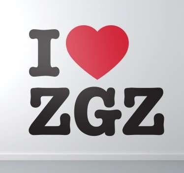 Naklejka z napisem I love Zaragoza
