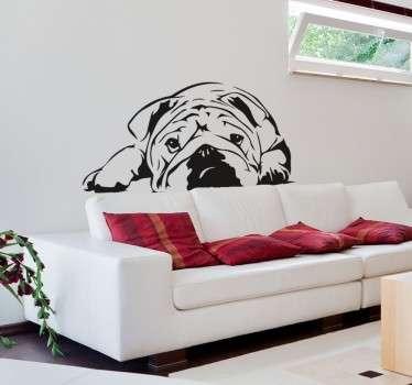 Sevimli bulldog illüstrasyon duvar sticker