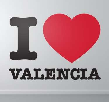 Decorative home wall sticker of '' i love Valencia''. It is self adhesive, easy to apply and available in any required size.