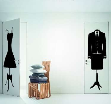 An elegant sticker of a female mannequin wearing a smart suit with a tie.