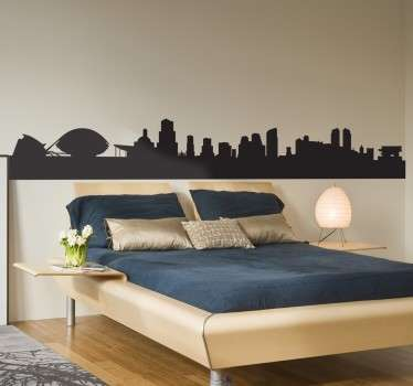 A silhouette city skyline wall decal of Valencia featured with skyscrapers and buildings. It is available in different colour and size options.