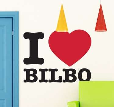 Decorative location wall sticker designed with the text  '' i love Bilbao'' . A nice decoration for any flat surface and it is available in any size.