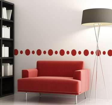 Decorative circles sticker that forms a border of two different sizes to provide more dynamism and elegance wherever you want to place it. Ideal for the walls of your home to help to transform them from being boring and plain.