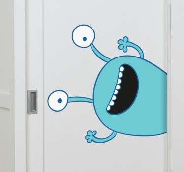 Blått monster klädskåp barn klistermärke