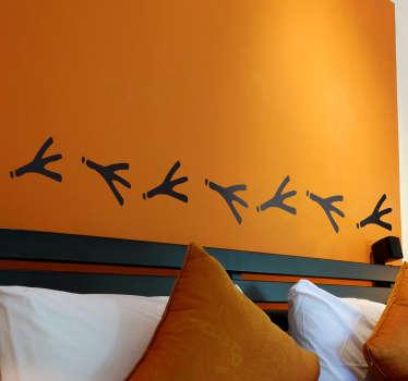 Sticker decorativo cornice orme uccellini